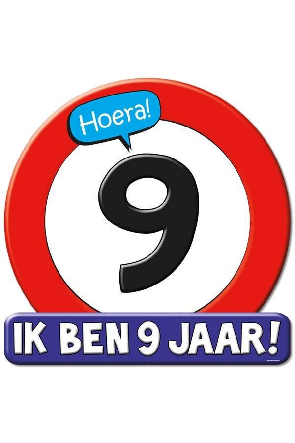 Huldeschild HOERA 9 JAAR 50×50 cm