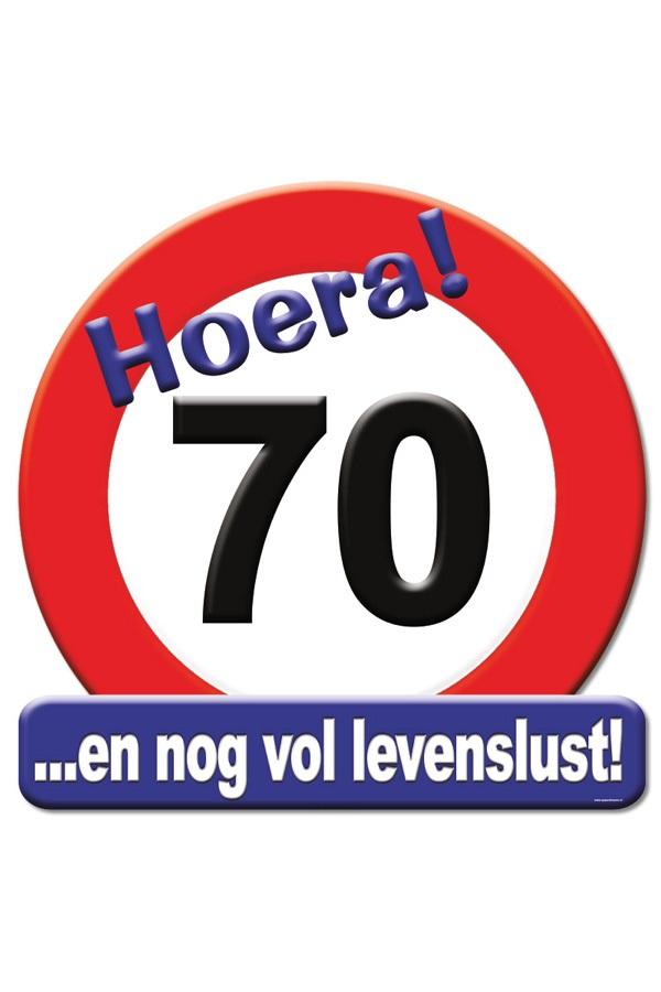 Huldeschild HOERA 70 JAAR 50×50 cm 1