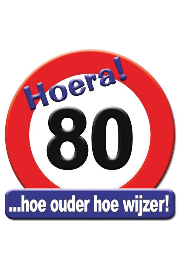 Huldeschild HOERA 80 JAAR 50×50 cm 1