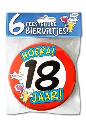Bierviltjes hoera 18 jaar per 6