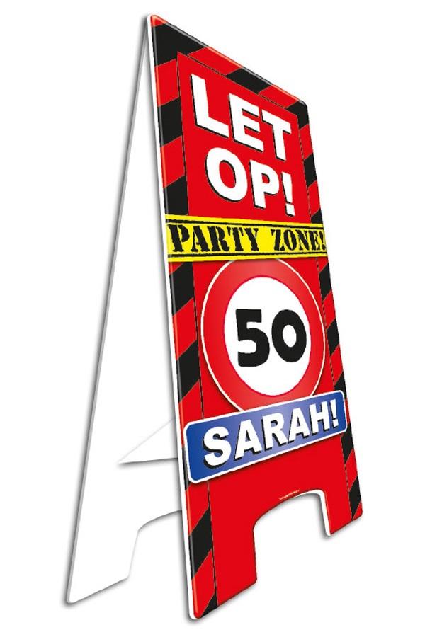 Waarschuwingsbord 50 sarah 58 x 23 cm