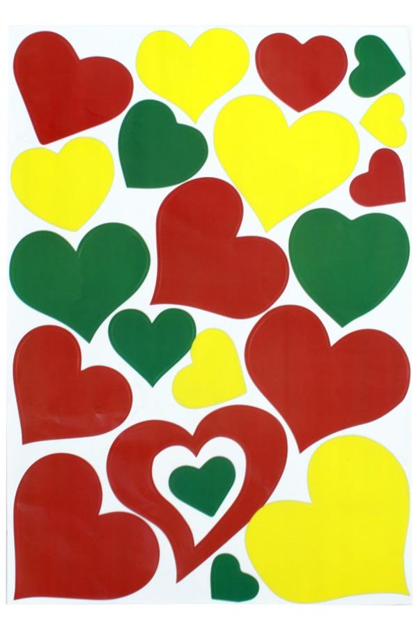 Adhesive hartjes rood/geel/groen 35x50cm 1
