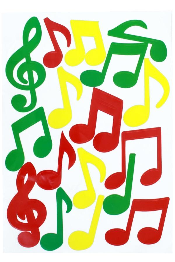 Adhesive muzieknoten rood/geel/groen 35x50cm 1