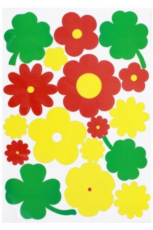 Adhesive bloemen rood/geel/groen 35x50cm