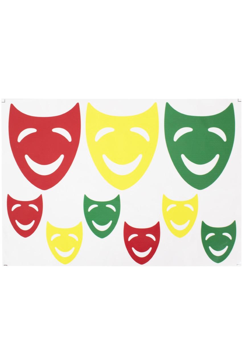 Raamsticker maskers rood geel groen 35 x 40 cm