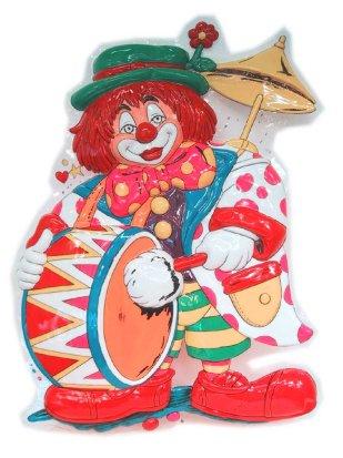 Clowndeco clown met trom 55 x 40 cm
