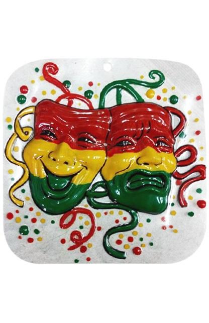 Wanddeco masker lach en traan 18x18 cm