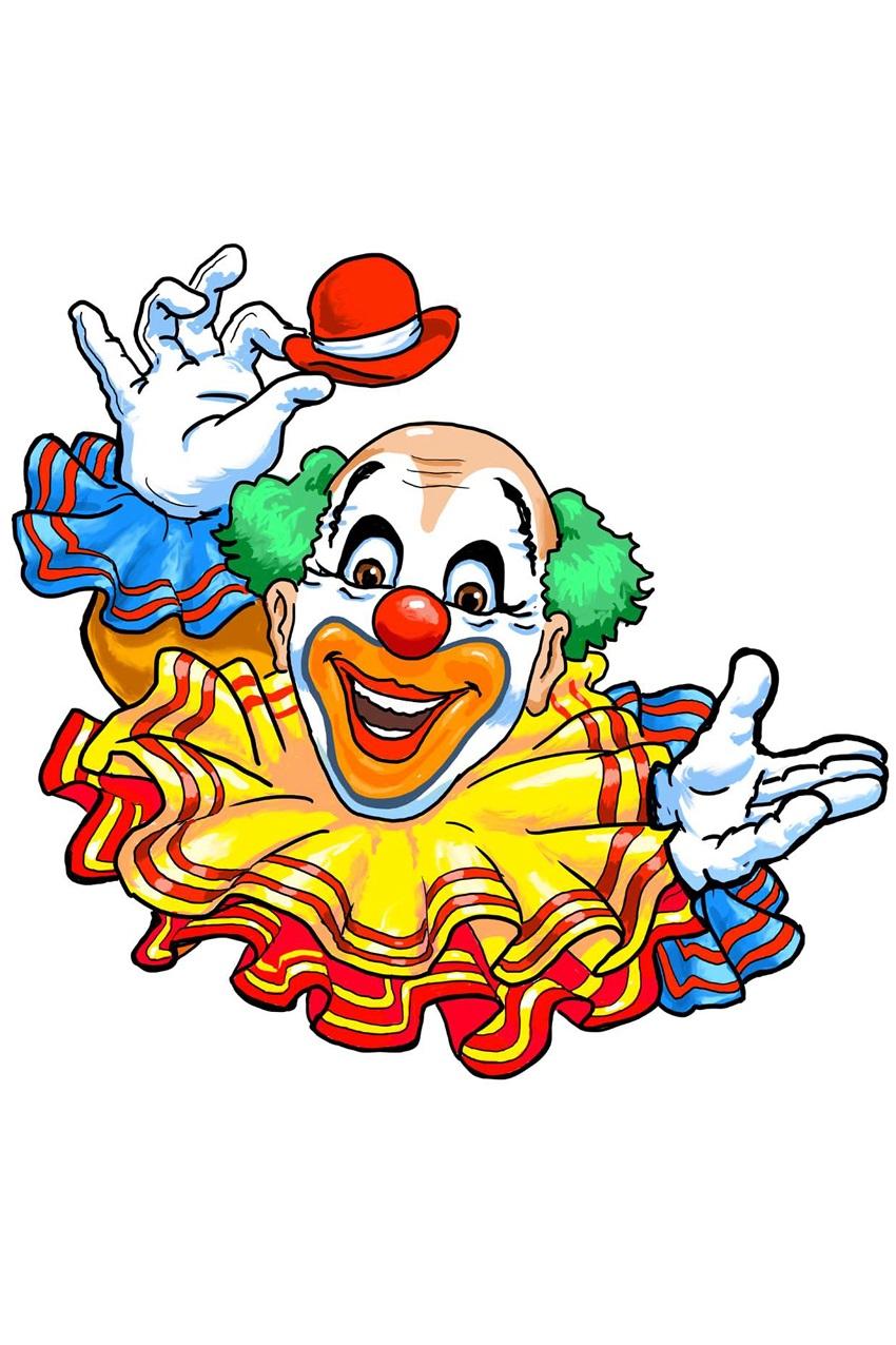Wanddeco Clown met grote kraag 50 cm 1