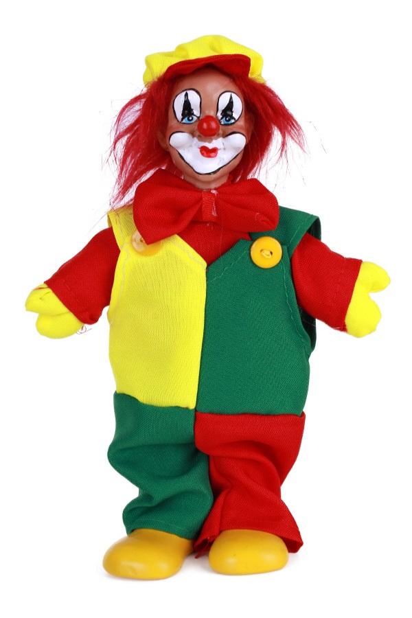 Clownspop met pet rood geel groen 20 cm 1