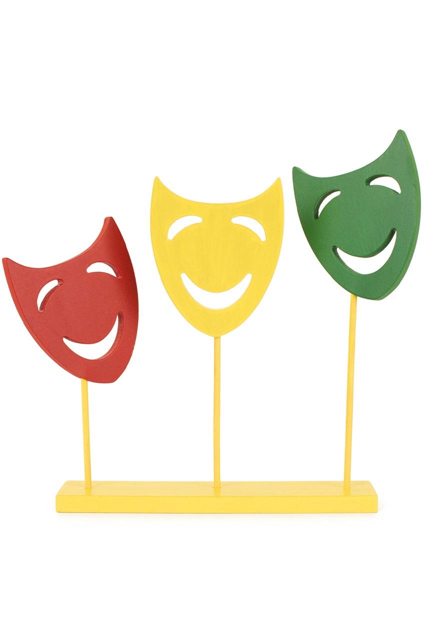 Decoratie plank met 3 maskers op stok rood/geel/groen 1