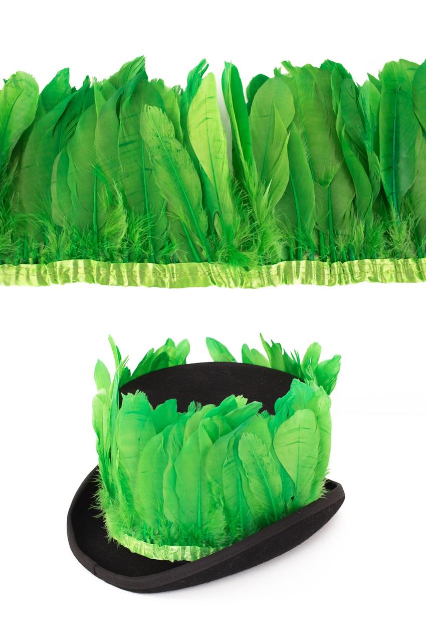 Ganzenveer op band licht groen 3m 1