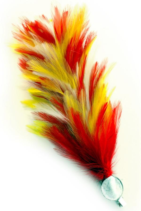 Verenpluim rood/wit/geel 30 cm buigbaar met speld en clip  1