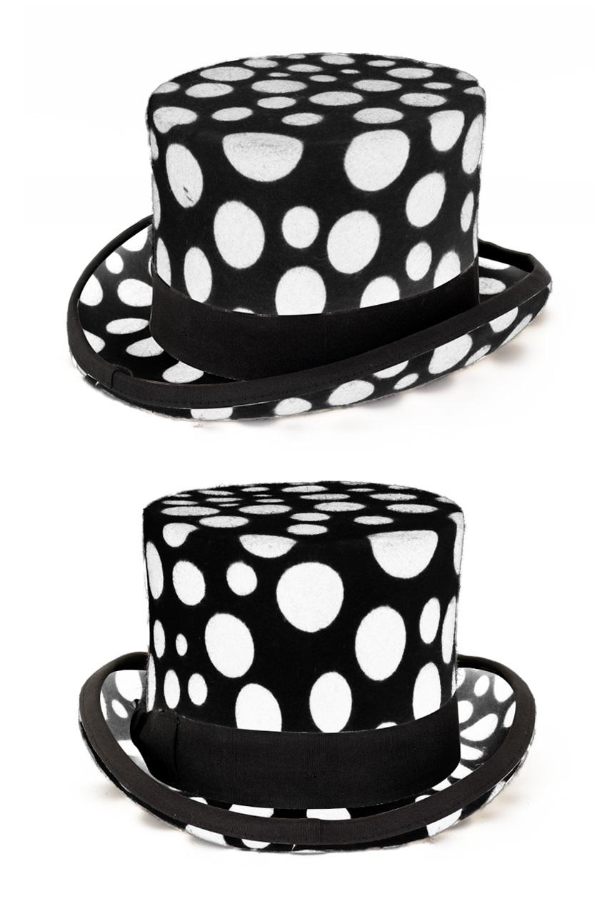 Hoge hoed wolvilt wit met zwarte bollen maat 59 1