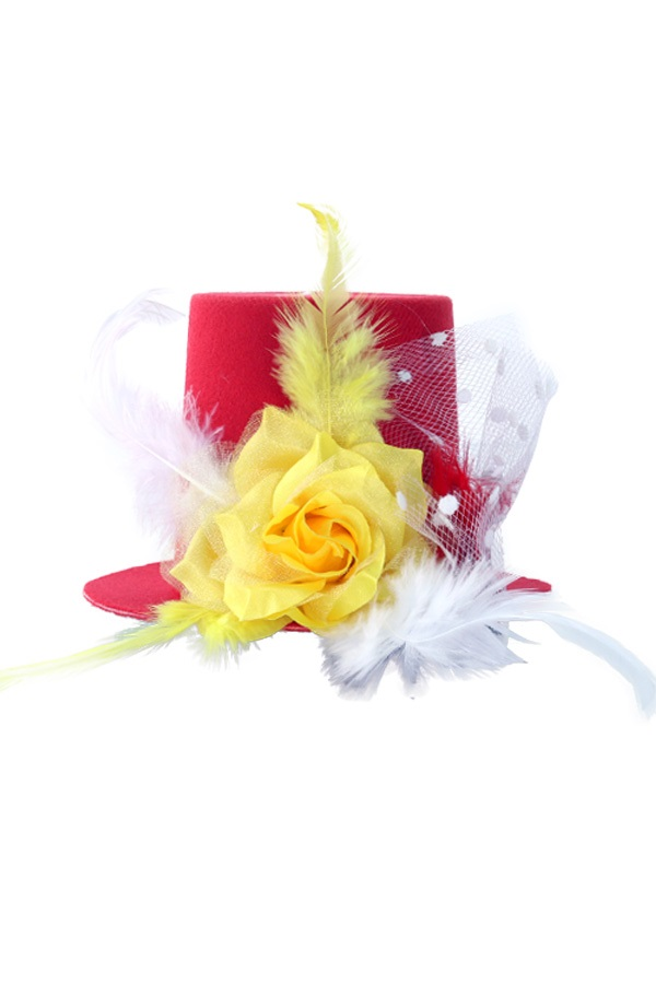 Mini hoedje rood/wit/geel met roos, veren en bolletjes gaas op speldjes 1
