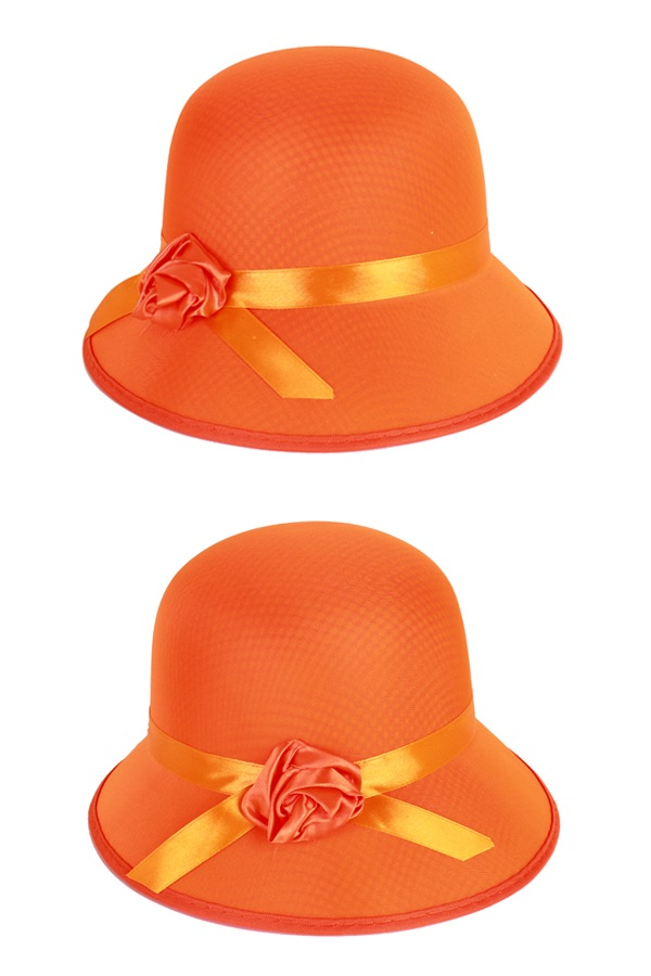 Dameshoed bol met roosje oranje 1