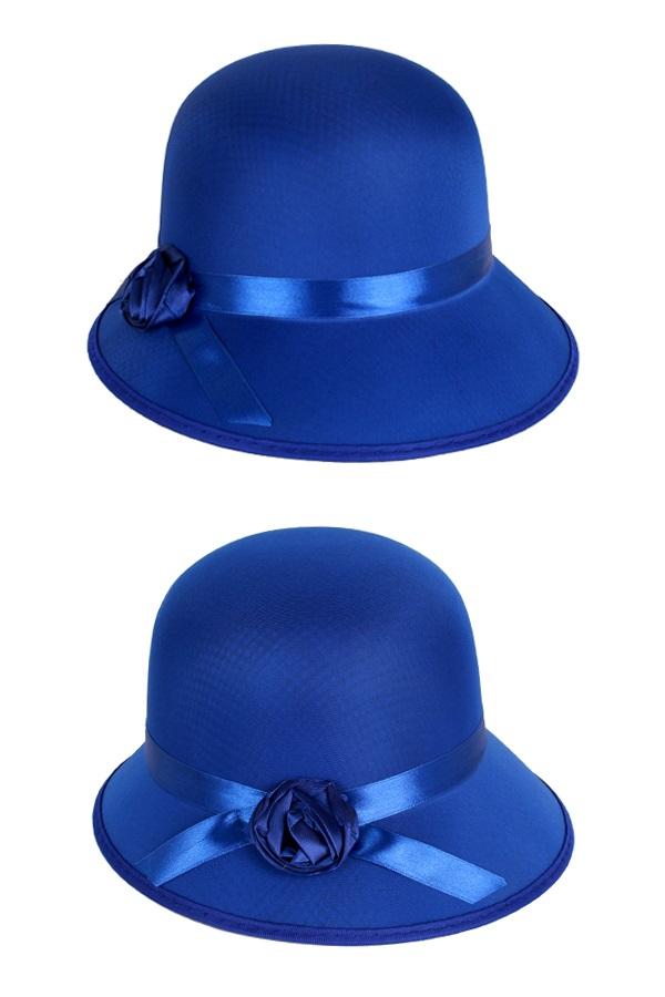 Dameshoed bol met roosje blauw 1