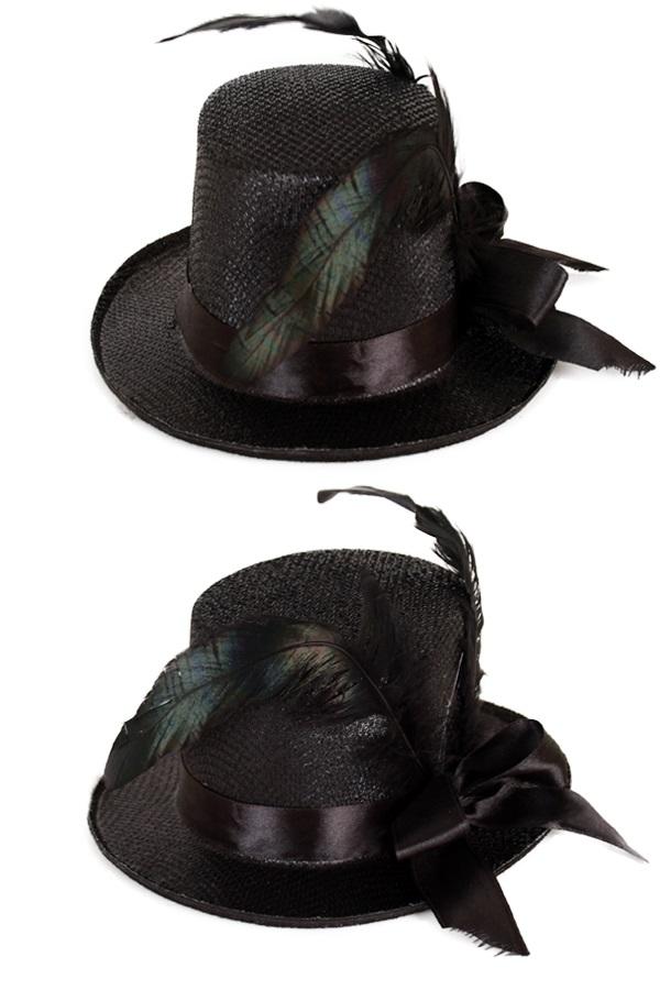 Midi hoge hoed glitter + deco zwart 1