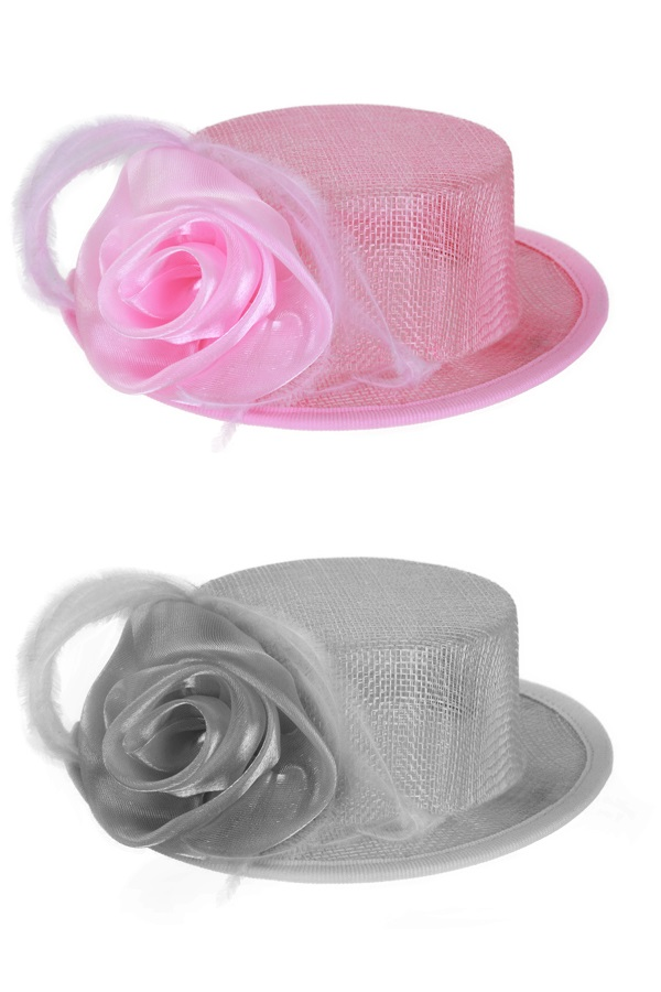 Midihoedje met haarklem + deco 2 assorti kleuren (grijs en pink) 1