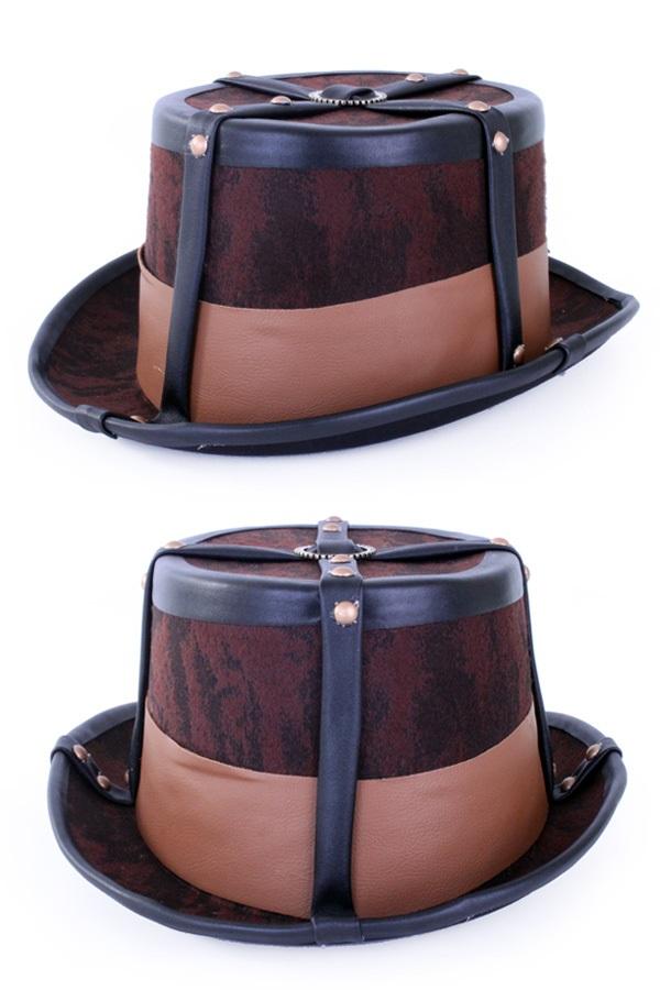 Steampunk hoed bruin decoratief met elastieke band 1