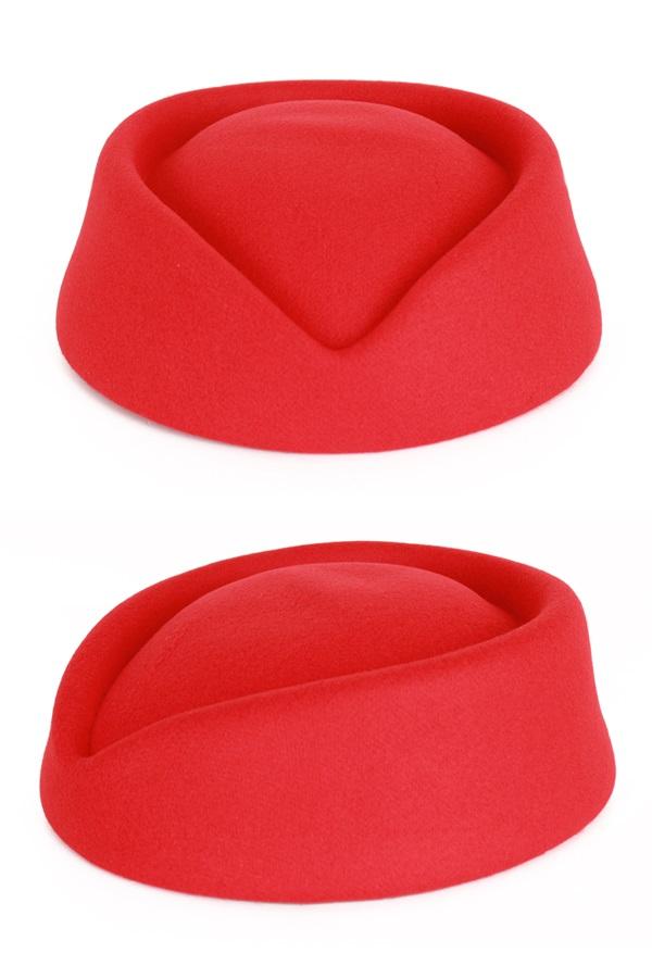Stewardess hoed wolvilt rood 1