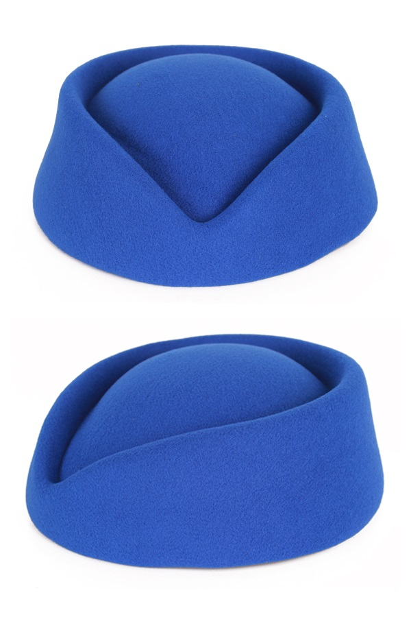 Stewardess hoed wolvilt blauw 1