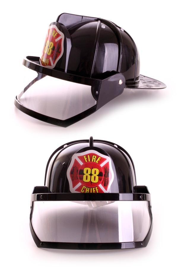 Brandweerhelm met vizier zwart plastic 1