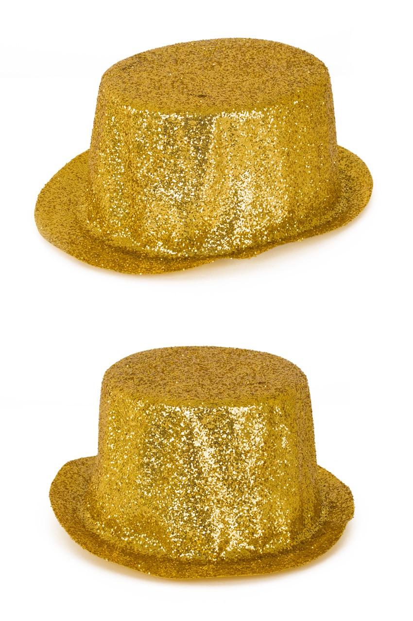 Hoge hoed plastic glittergoud 1