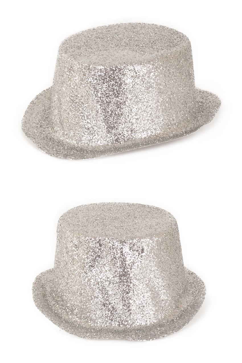 Hoge hoed plastic glitterzilver 1