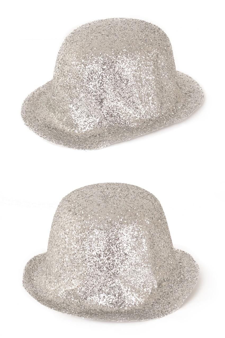 Bolhoed plastic glitterzilver 1