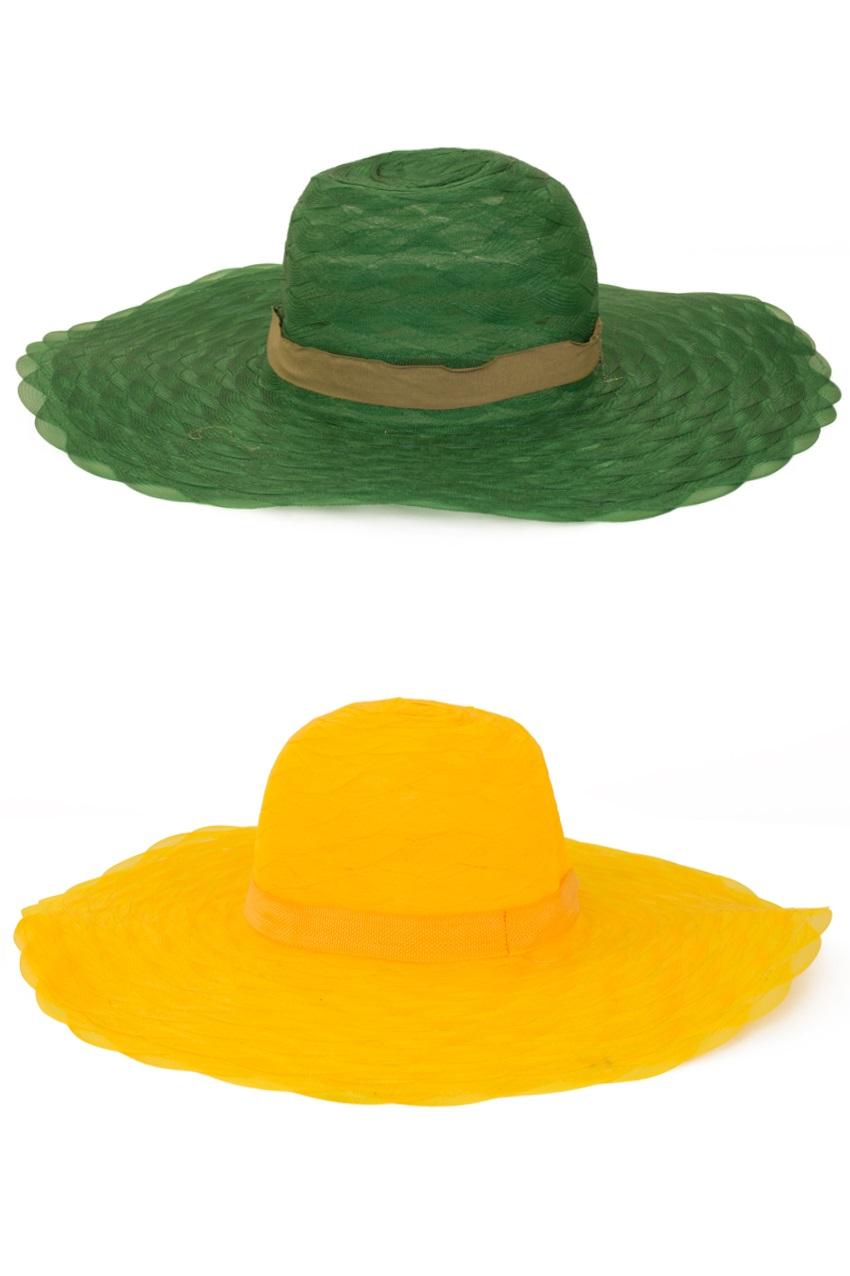 Dames organza hoed gaas rood of geel of groen 1