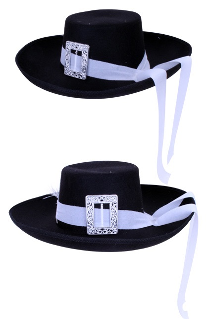 Musketier hoed zwart + witte band populair 1