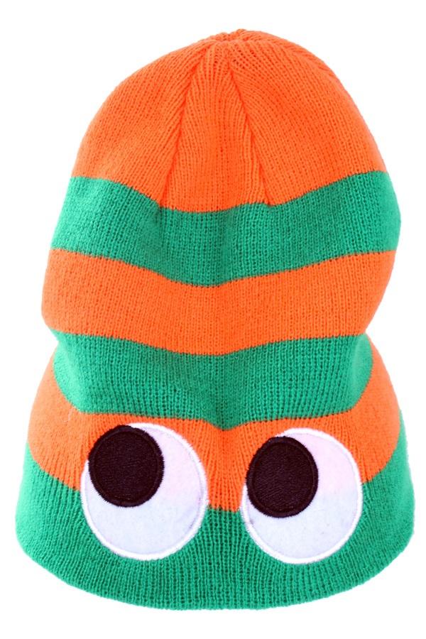Gebreide muts oranje/groen met ogen  1