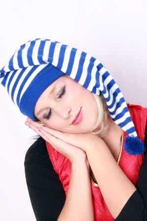 Slaapmuts blauw/wit 1