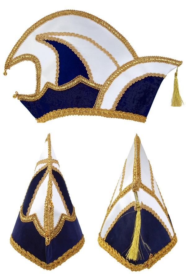 Prinsenmuts blauw/wit maat 63 1