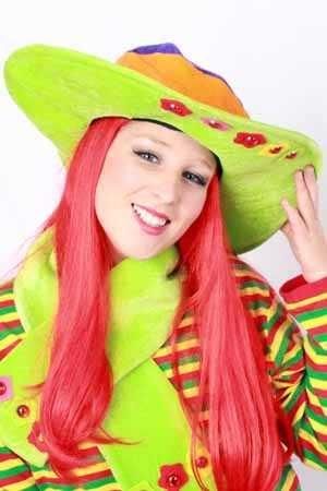 Dames hoed fluor + stenen + sjaal one size 1