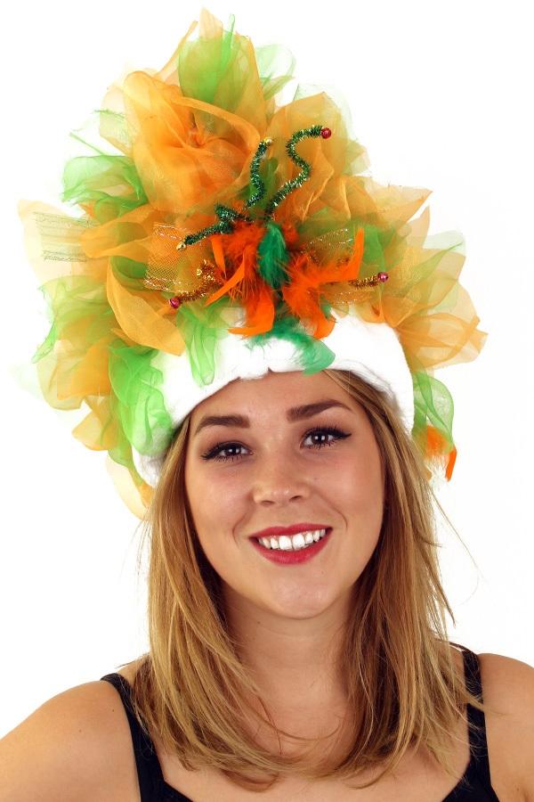 Fur hoed oranje groen  1