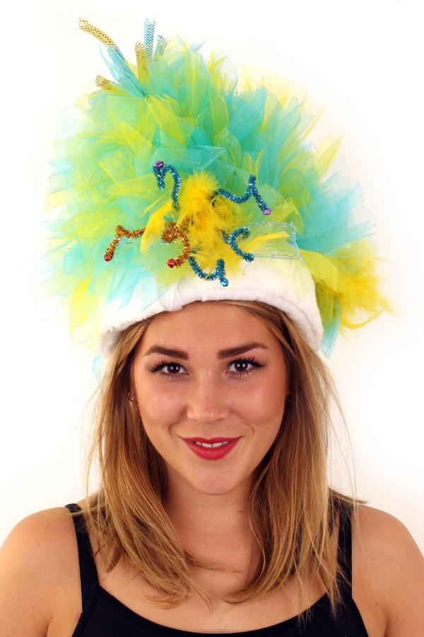 Fur hoed blauw geel  1