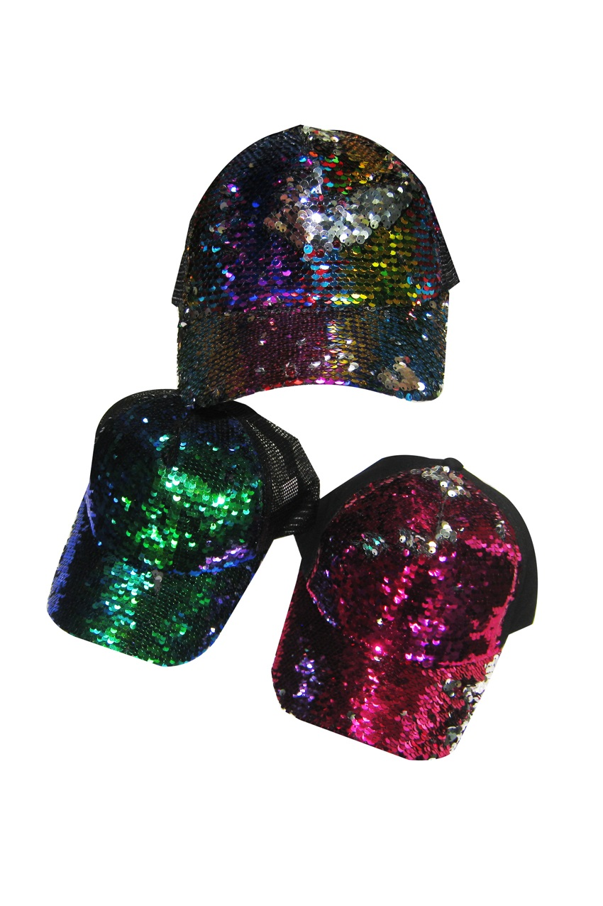 Baseballcap pailletten multicolour 3 assorti 1