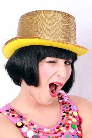Hoge hoed lurex glitter goud 1