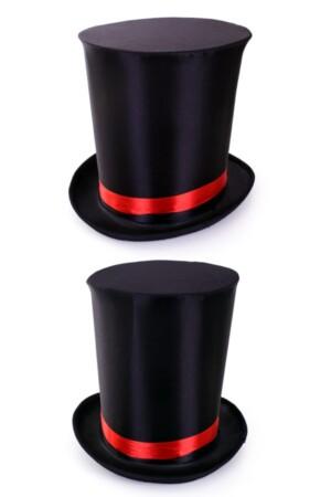 Ultra hoge hoed zwart met elastieke band maat 59-60-61