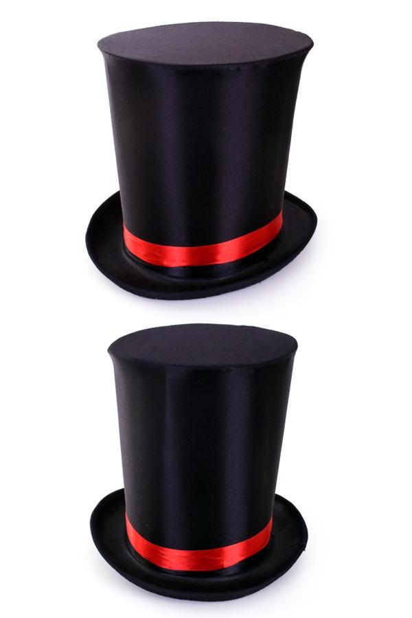 Ultra hoge hoed zwart met elastieke band maat 59-60-61 1