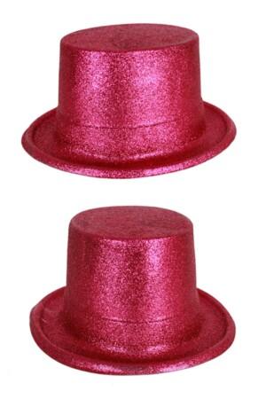 Hoge hoed plastic glitter pink