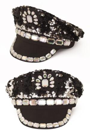 Pet pailletten met stenen zwart luxe