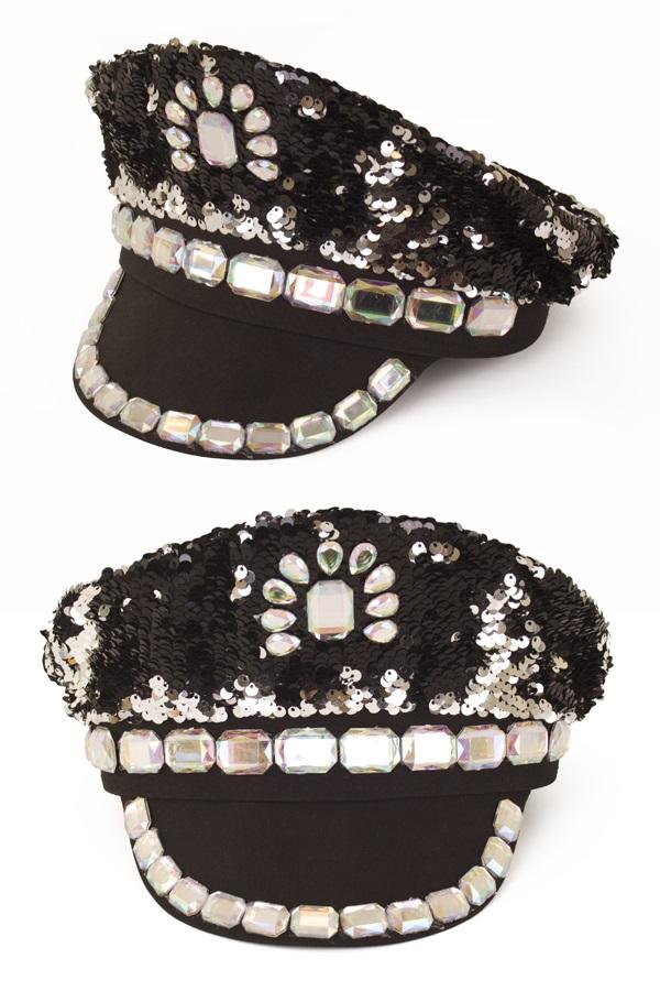 Pet pailletten met stenen zwart luxe 1
