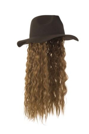 Zwarte hoed met bruine haren