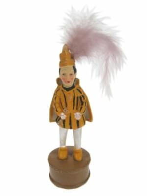 Beeldje prins karnaval geel/zwart 16 cm.