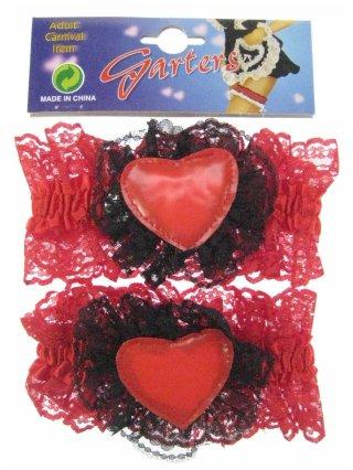 Luxe kousenband met rood hart per paar 1