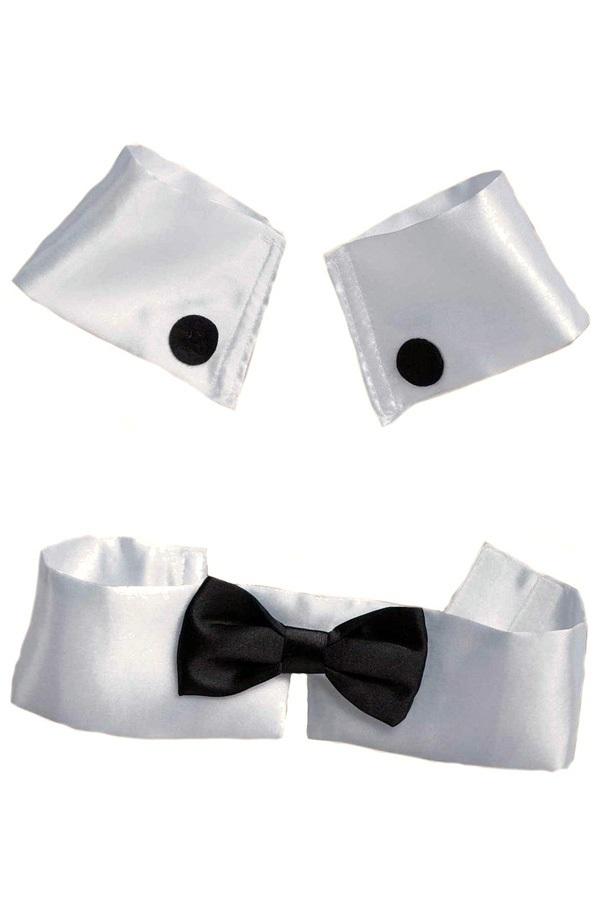 Kraag met strik zwart/wit 1
