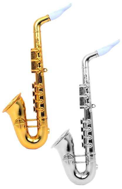 Saxofoon plastic goud/zilver assortie 1