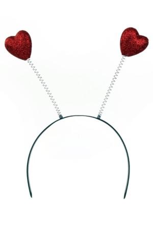 Diadeem 2 rode hartjes glitter